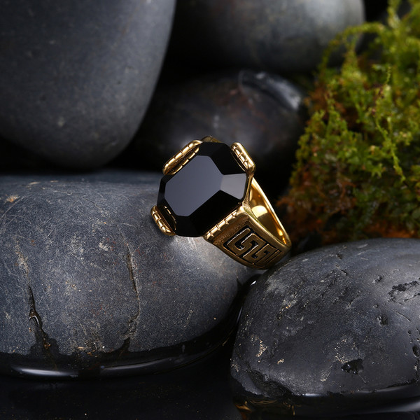 New men's stainless steel ring Top Quality Fashion Gold Ring for Men Red / black zircon ring jewelry Free Shipping