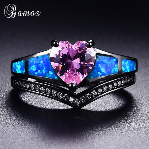 Bamos Retro Blue Opal Ring Set Pink Heart Cubic Zirconia Rings Black Gold Filled Wave Ring For Women Promise Wedding Jewelry