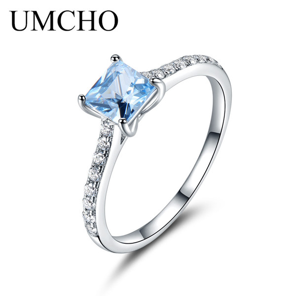 UMCHO 5*5mm Sky Blue Topaz Ring Engagement Wedding Ring 925 Sterling Silver Rings For Women Anniversary Vintage Gift Jewelry