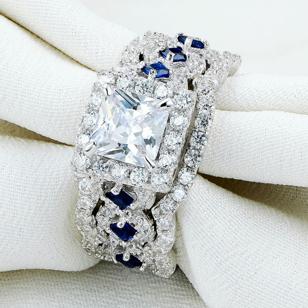 2.2 Ct 3 Pcs Solid 925 Sterling Silver Halo Wedding Ring Sets Princess Cut CZ Blue Side Stone Classic Jewelry For Women