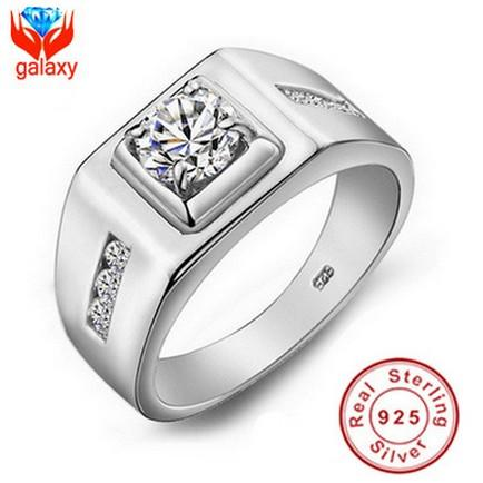 Luxury Wedding Rings for Men 100% 925 Sterling Silver High Grade 6mm Cubic Zircon CZ Diamond Jewelry Engagement Big Ring Wholesale ZRJ29