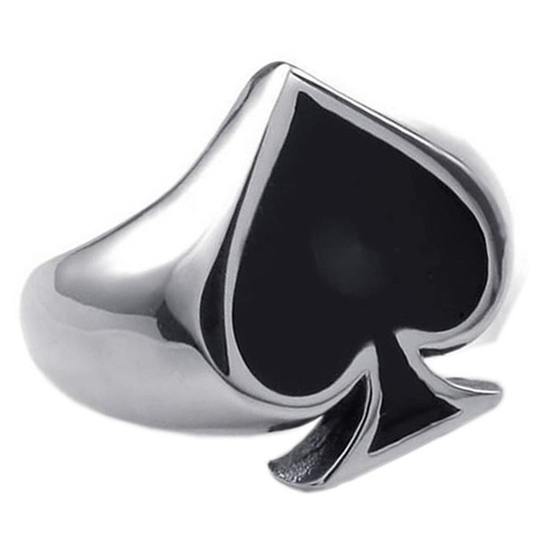 Classic Poker Spades Gambler Good Luck Finger Ring Mens Poker Spades Silver Stainless Steel Rings Charm For Men Women