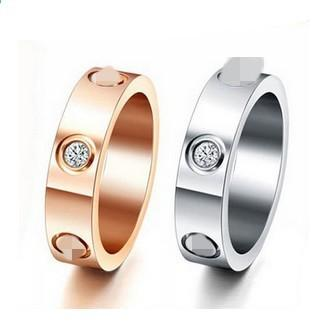 Top Classic Design Famous Brand 6mm white / Rose / yellow gold Plated CZ diamond lovers wedding band love ring for Women Men