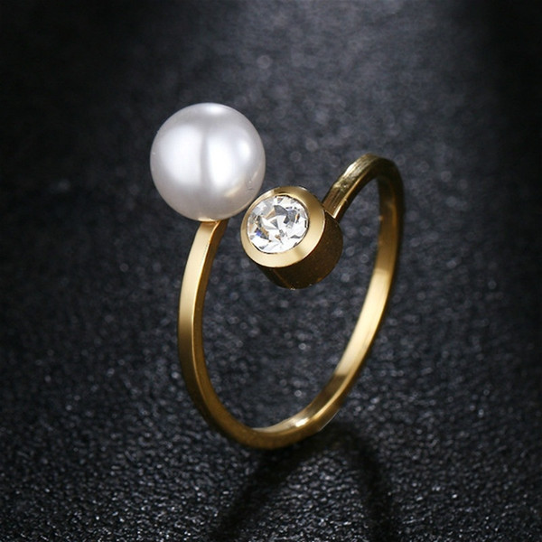 Korean Fashion Women Gold Plated Stainless Steel Pearl Diamond Crystal Open Adjustable Ring