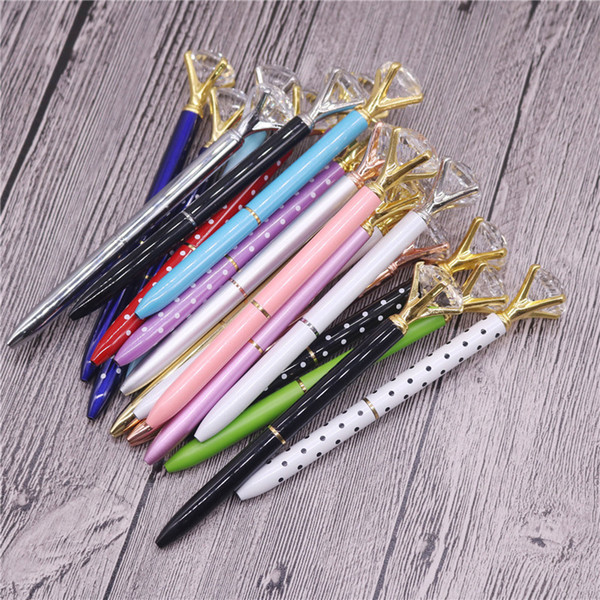 Top Fashion Creative Crystal Glass Kawaii Ballpoint Pen With Large Diamond 8 Colors School Office Supplies Halloween Christmas gifts