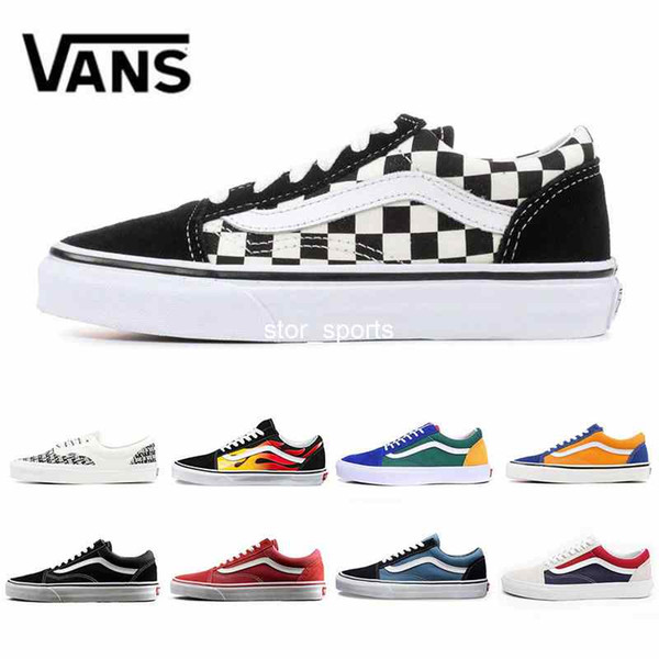 VANS Flames Original old skool Running shoes black blue red Classic mens women canvas sneakers fashion Cool Skateboarding casual shoes 36-44