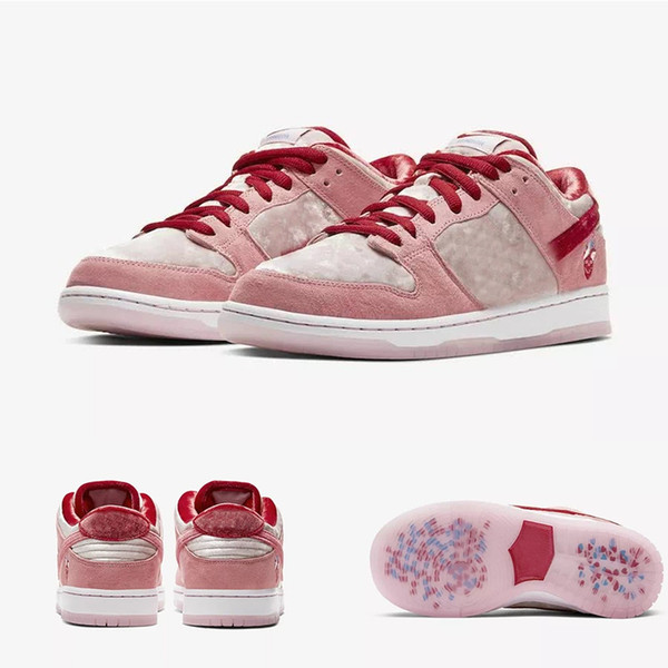 2020 New StrangeLove x SB Dunk Low Pink Velvet Girls chaussures Running Shoes Women Mens designer Valentine's Day sports Casual sneakers