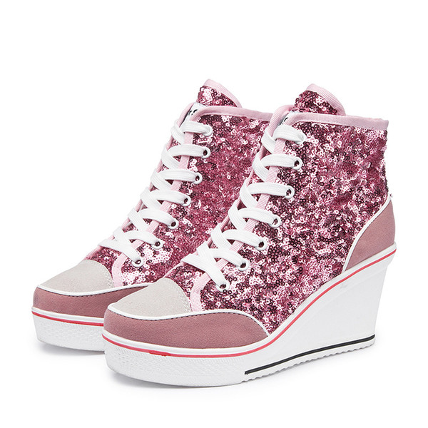 2019 Spring autumn women's casual shoes pink black silver glitter vulcanize shoes women platform wedge sneakers .SP-020