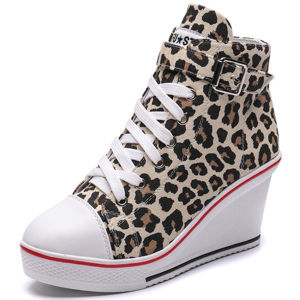 Wedge sneakers women's shoes made of vulcanized leather fashionable shoes with a zipper high top shoes .SP-013