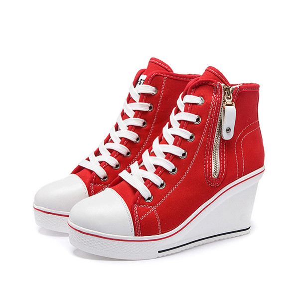 Women's canvas shoes high sneakers on a platform sole lace-up shoes women's casual shoes with a zipper fashionable platform .SP-016