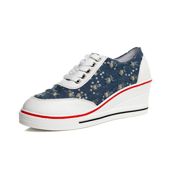 Fashionable casual women's sneakers with sequins denim shoes on a platform of 6 cm shoes with wedges women's shoes for girls. SP-018