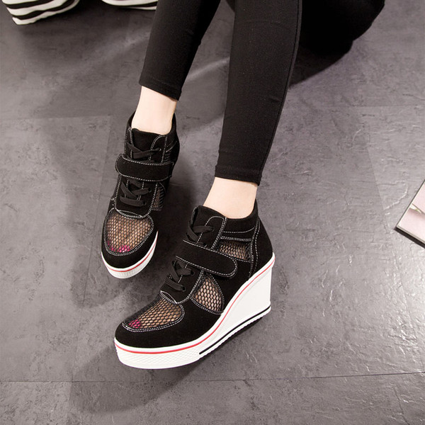 Casual white breathable mesh sneakers Women's shoes on a platform sole platform sneakers spring women's shoes .SP-030