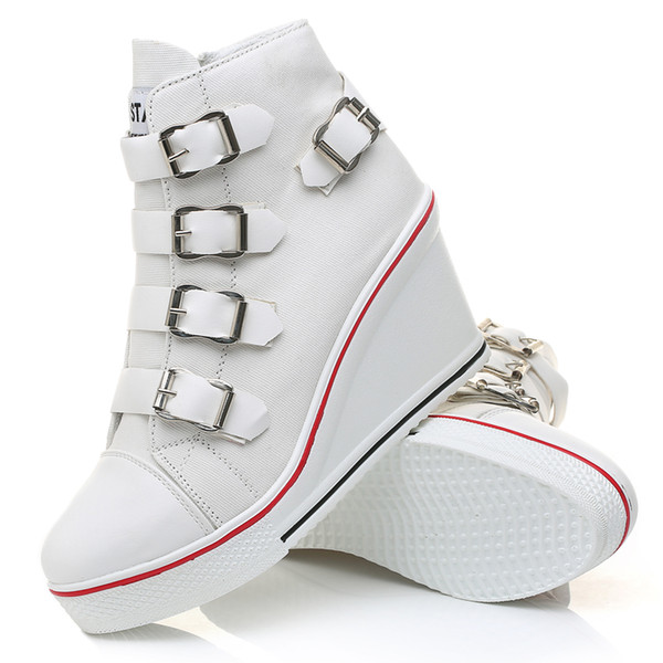 Fashionable sneakers for girl platform shoes vulcanized leather casual shoes spring-fall season sneakers with a buckle on a strap .SP-063