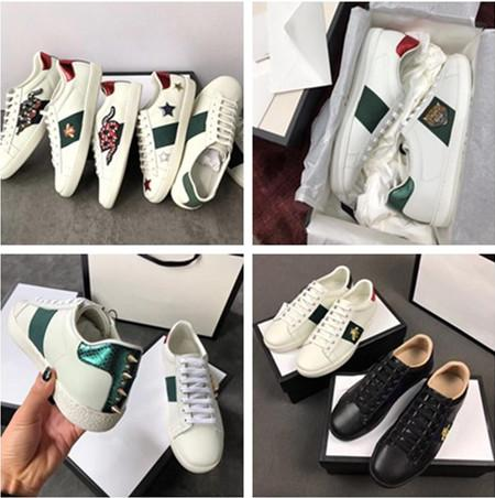 Top quality Designer women men luxury ace embroidered sneakers casual fashion low top men womens flats leather shoes big size EUR34-45