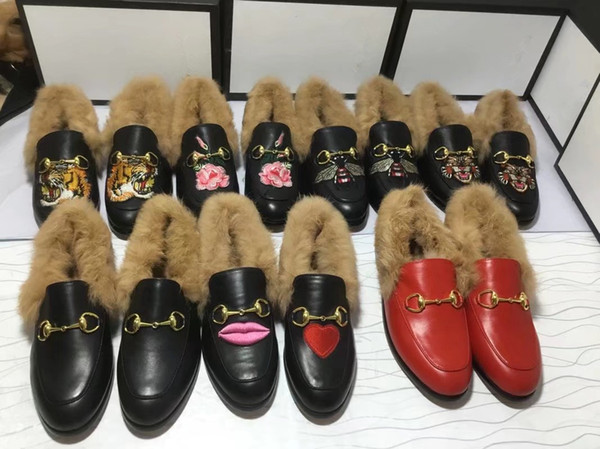 Womens Mens Designer Fur Loafers Flats Leather velvet shoes with fur lady men fashion Luxury New shoe fur Horsebit Top quality EUR 34-45