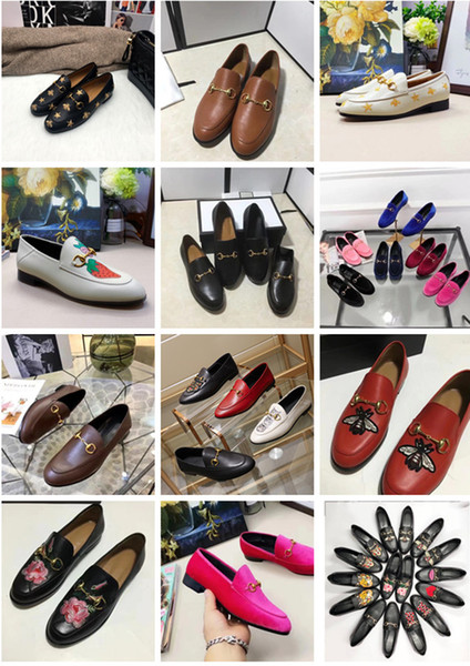 2019 New Designer loafers for men women leather velvet horsebit buckle embroidery tiger luxury fashion shoes mens womens size EUR34-45