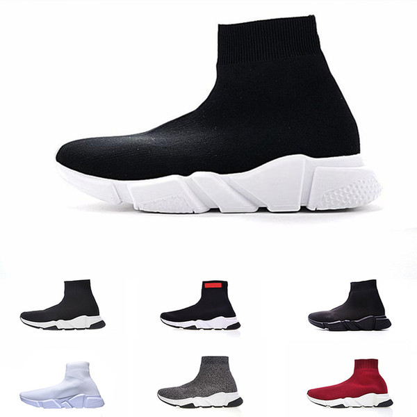 2019 Fashion Shoe Speed Trainer cheap Sneakers for men womens Speed Trainer Sock Race Runners black men Shoe zapatos free shipping