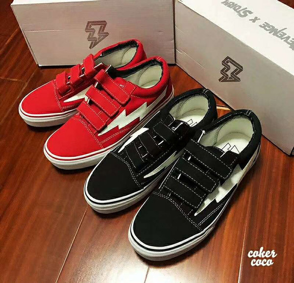 REVENGE x STORM 2018 new classic black and red magic buckle vulcanized board shoes come with box and bags 36-44 free shipping
