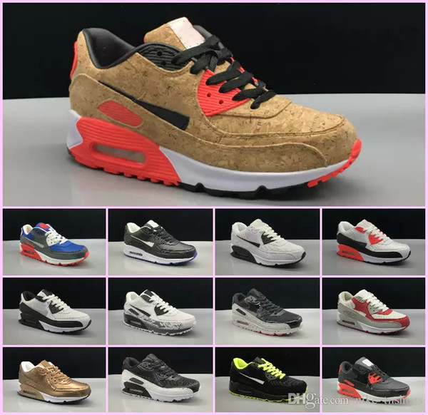 2018 Mens SneAKers ShOes classic 90 Men and woMen RunnING ShOes Black Red White SpORts Trainer AIR Cushion Surface Breathable SpOrts ShOes