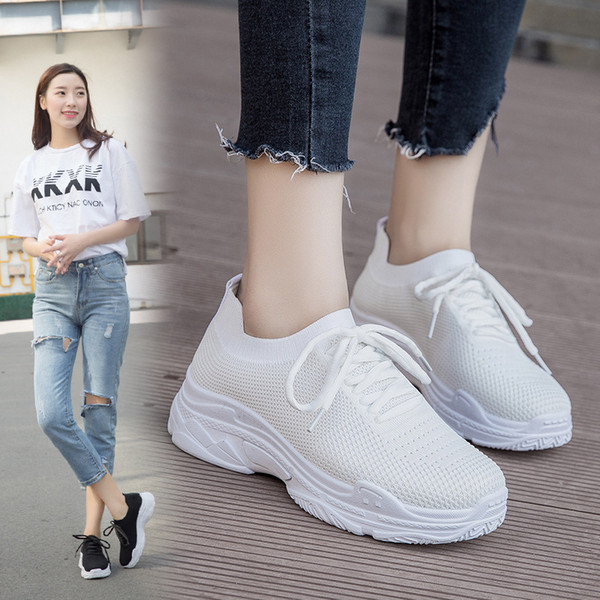 Sneakers White Coconut Shoes Woman Female Version Harajuku Breathable Elastic Socks Wild Sports Shoes Lightweight Fitness