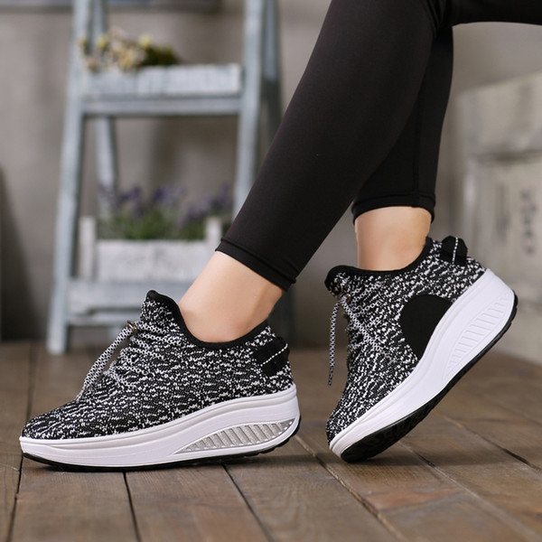 Women Breathable Mesh Lace Up Shoes Height Increasing Rocking Shoes Toning Sports Wedge Sneakers Platforms