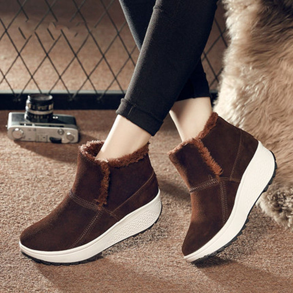 Women Toning Snow Boots Winter Warm Paltform New Plus Velvet Non-slip Female Sneakers Light Weight Cotton Shoes