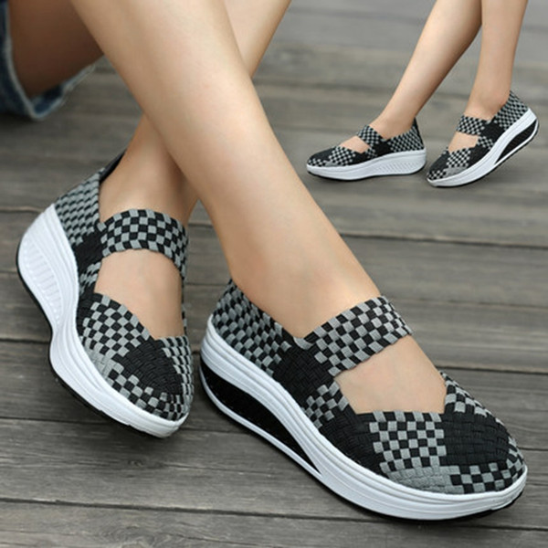 Women Slimming Shoes Woven Breathable Slip-on Sneakers New Wedge Height Increasing Female Toning Swing Shoes