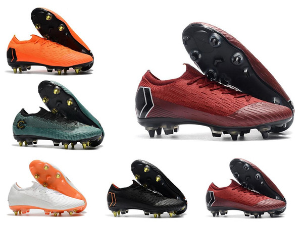 2018 World Cup Mens Soccer Cleats Mercurial Superfly VI 360 Elite SG AC Steel Spikes Soccer Shoes High Ankle Chaussures De Football Boots