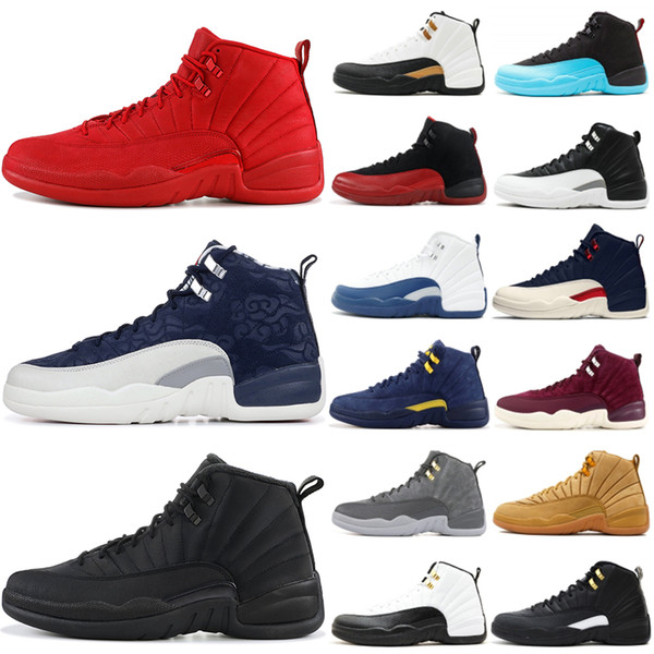 12 12s Mens Basketball Shoes 2019 New Michigan Wntr Gym Red NYC OVO Wool XII Designer Shoes Sport Sneakers Trainers Size 40-47