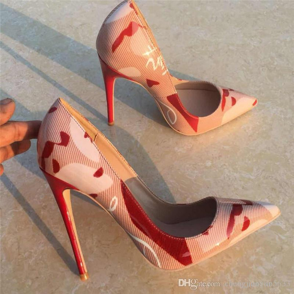 overseas2019 Lady Woman Graffiti Printed Leather Stiletto Heels Poined Toes Wedding HEELED Shoes