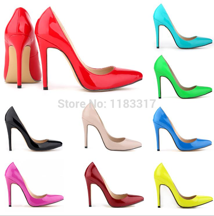 Wholesale-2015 Plus Size 35-42 Neon Yellow Thin Heel Pointed Loyal Blue Women's Pumps High Heels Red Bottom Vintage Sexy Women shoes