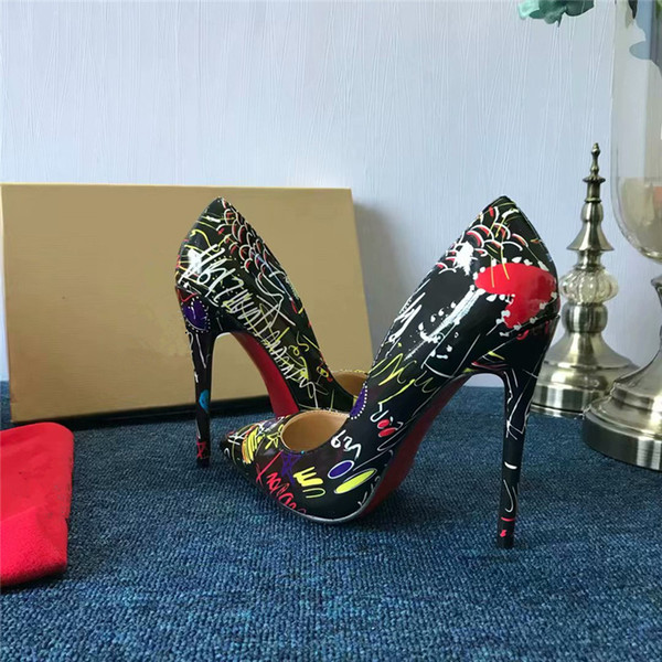 2019 Luxury Brand RED BOTTOM High Heels Black graffiti lacquered leather With Shallow Mouth Women's Dress Shoes Fashion Spikes Pumps 8/10/12