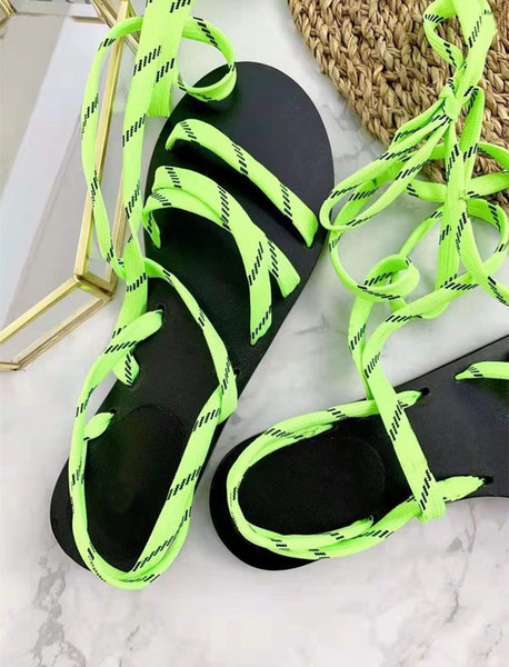 New Summer Handmade Ribbon Sandals High-end Designer Women's Beach Shoes Classic Slip-proof and Wear-resistant Flat-soled Shoes Original Box