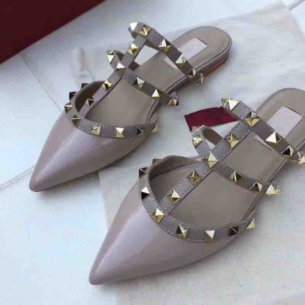 women High-heeled shoes luxury designer sandals loafer summer Genuine Leather shoes high quality Flat rivet shoes brands slippers 2018