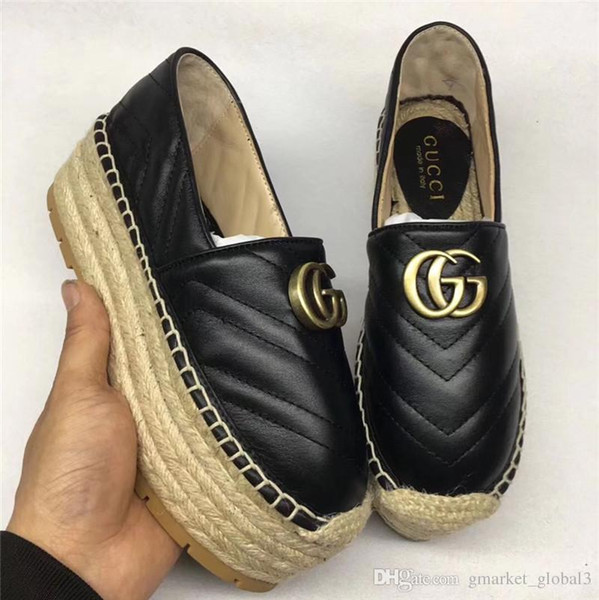Hot Chevron leather espadrille Double women's fisherman's shoes luxury designer fashion women's sandals platform leather shoe