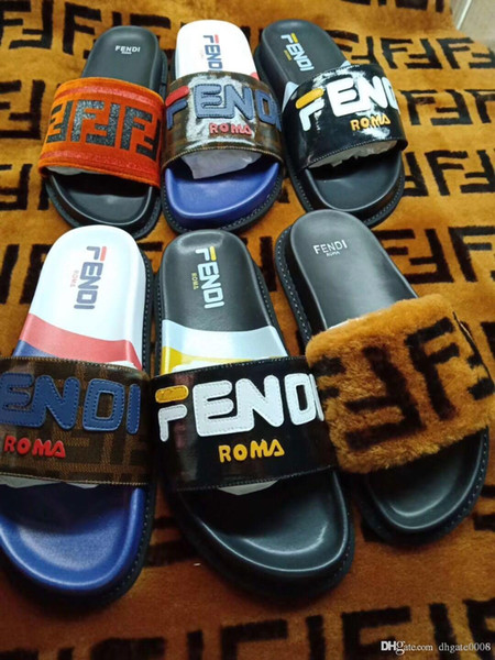 New ladies wedge sandals Men designers Sandals design fur slides woman slippers High quality gladiator sandals Men flip flops with the box