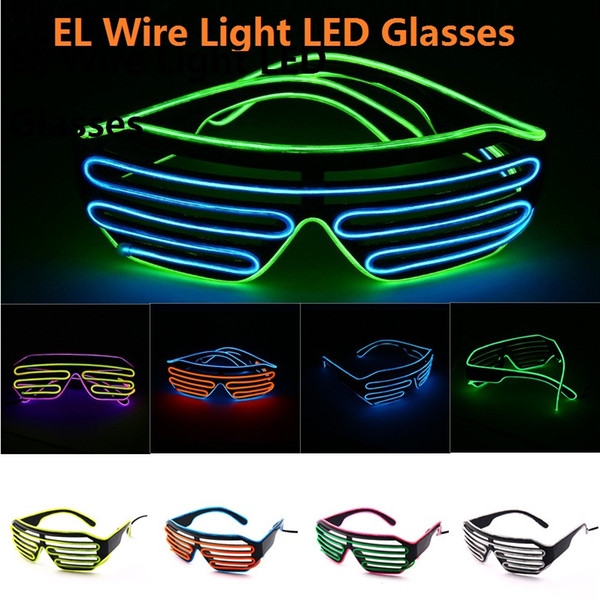 EL Wire Light LED Glasses Bright Light Party Glasses Club Bar Performance Glow Party DJ Dance Eyeglasses 11colors 30pcs M937
