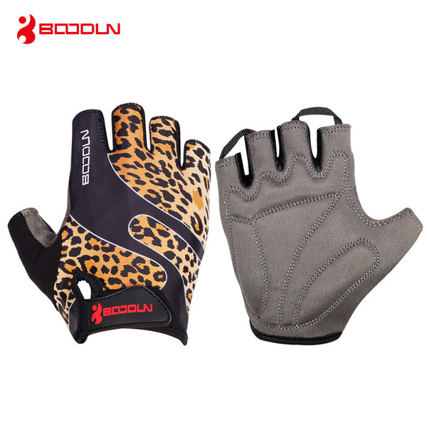 Boodun Brand Weight Lifting Gym Gloves Leopard Men Women Sports Fitness Breathable Cycling Glove 2018 Outdoor Half Finger Glove Trainning