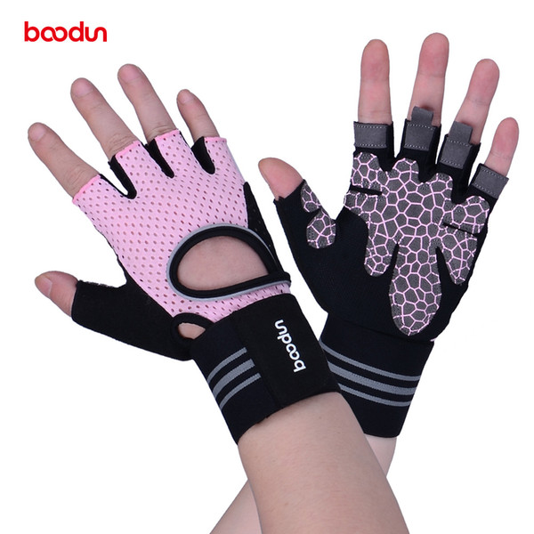 Boodun Brand Gym Glove Half Finger Bicycle Sport Cycling Gloves Gel Pad Biking Breathable Anti-slip Women Fitness Glove Men