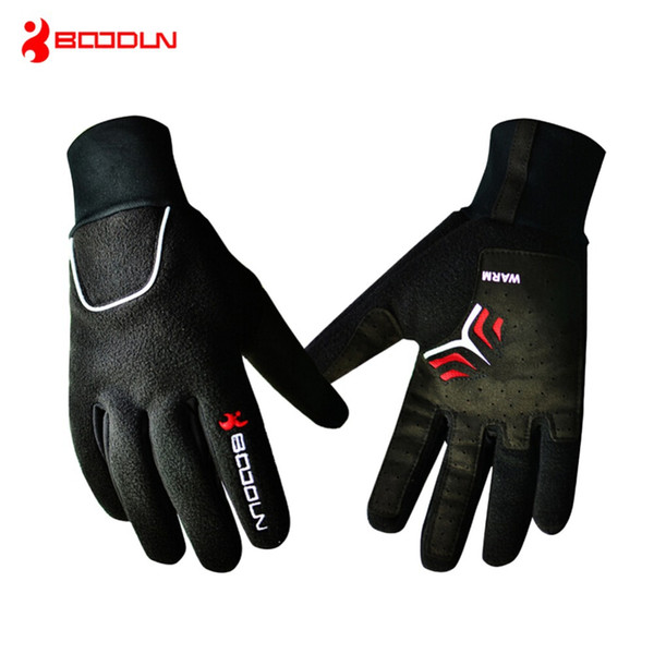 Brand Windproof Fleece Bicycle Gloves Winter MTB Bike Thermal Guantes de po Bicicleta Men Full Finger Cycling Gloves Luvas de goleiro