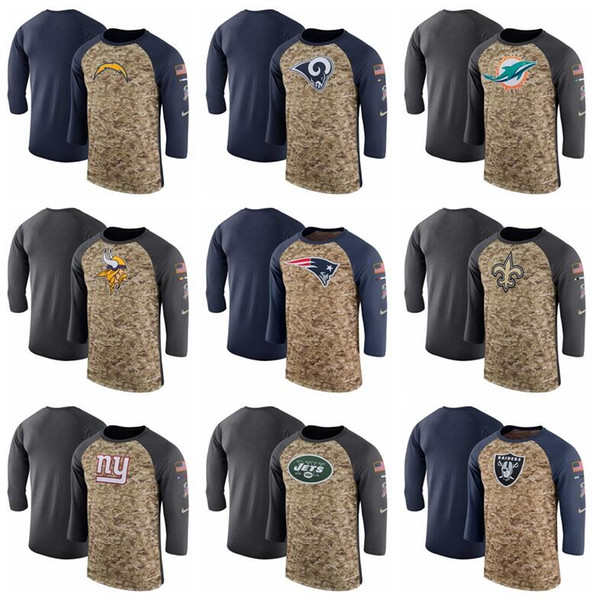Men Los Angeles Vikings Chargers Rams Dolphins Patriots Saints Giants Jets Camo Navy Salute to Service Sideline Legend Performance T-Shirt