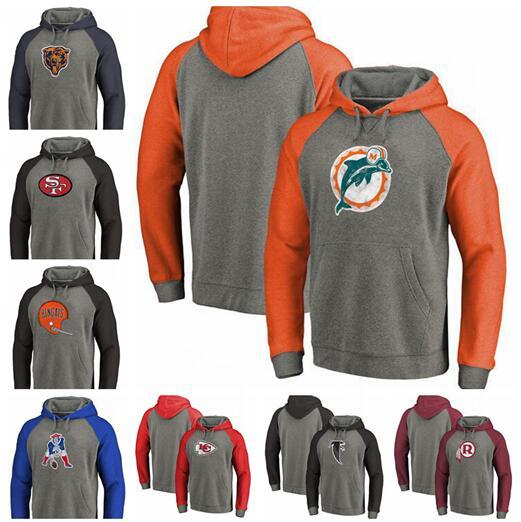 Atlanta falcon Chicago Miami San Bears Cleveland Washington Browns Francisco 49ers Dolphins Redskins Tri-Blend Raglan Pullover Hoodies