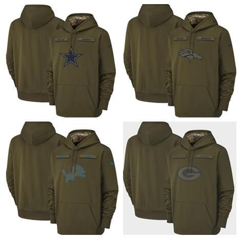 Dallas Denver Cowboys Broncos Detroit Lions Green Bay Packers Olive Titans Salute to Service Sideline Therma Pullover Hoodie