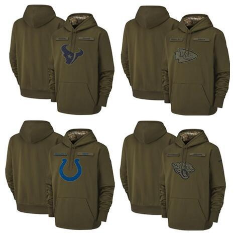 Houston Jacksonville Indianapolis Texans Colts Jaguars City Chiefs Sweatshirt Olive Salute to Service Sideline Therma Pullover Hoodie