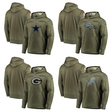 2018 Men's Dallas Cowboys Sweatshirt Broncos Salute to Service Detroit Lions Olive Green Bay Packers Sideline Pullover Hoodies