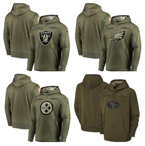 2018 Men Steelers Sweatshirt Philadelphia Eagles Salute to Service Raiders Olive San Francisco 49ers Pullover Hoodies