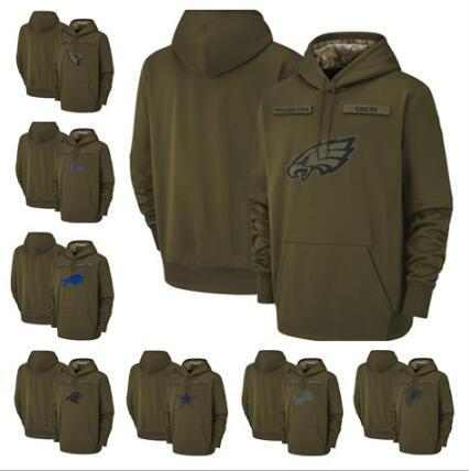 Eagles Arizona Buffalo Baltimore Atlanta Cardinals Falcons Ravens Bills Carolina Lions Panthers 2018 Olive Salute to Service Pullover Hoodie