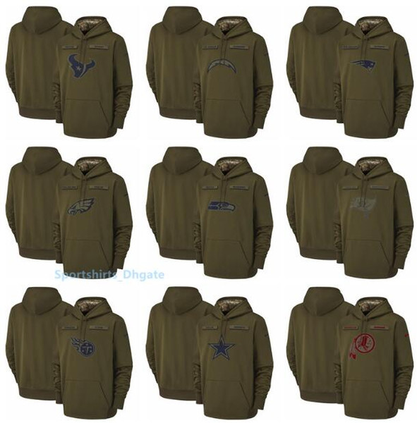 Men Seattle Seahawks Dallas Cowboys Buccaneers Titans Washington Redskins Salute to Service Sideline Therma Performance Pullover Hoodies