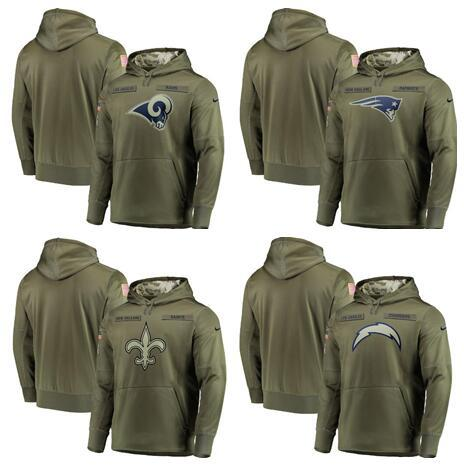 2018 Men Sweatshirt Angeles Chargers Olive Angeles Rams Salute to Service New Orleans Saints Pullover Hoodies