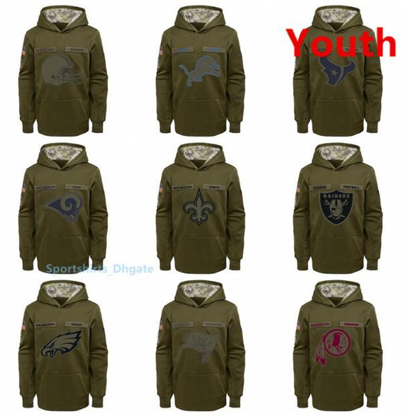 Youth Philadelphia Eagles Tampa Bay Buccaneers Washington Redskins New Orleans Saints Salute to Service Pullover Performance Hoodies